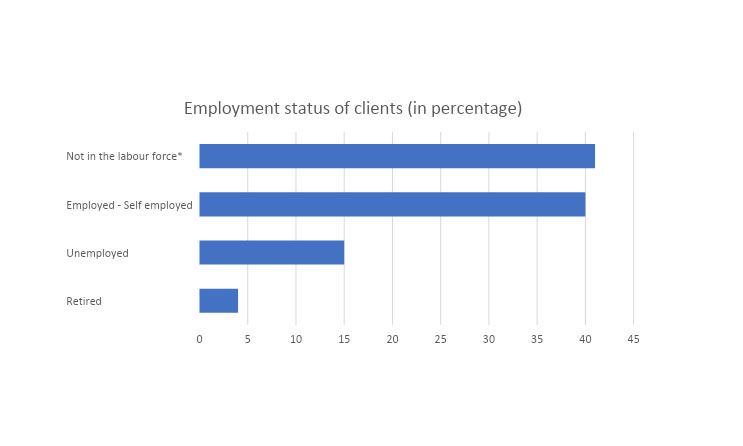 *Not in the labour force means clients not actively looking for work such as stay at home parents.